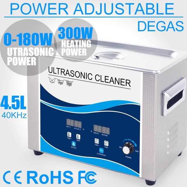Nettoyeur à ultrasons Portable 4,5l 180W puissance réglable, transducteur ultrasonique, vaisselle, outils de lentilles de laboratoire