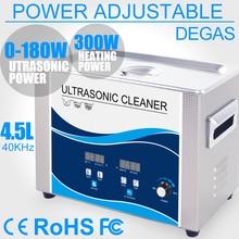 Ultrasone Reiniger 4.5L Draagbare Bad 180 w Power Verstelbare Degas Heater Ultrasound Transducer Servies Lab Prothese Lens Gereedschap