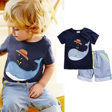 2Piece/2-7Years/Summer Kids Clothes For Sale Baby Boys Tracksuit Cartoon T-shirt+Stripe Short Brand Children Clothing Set BC1095