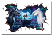 Custom Printing Wall Mural How To Train Your Dragon 3 Poster HTTYD 3D Wall Sticker Toothless Wallpaper Dining Room Decals #0866#