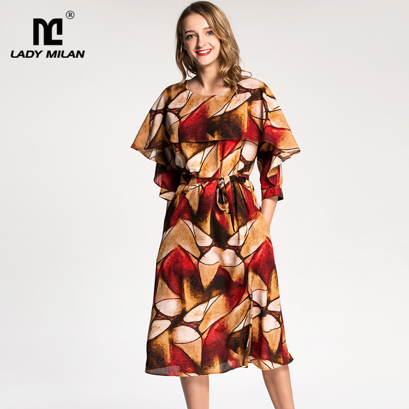 New Arrival 2018 Womens O Neck 3/4 Sleeves Printed Color Block Sash Belt Fashion Casual Dresses