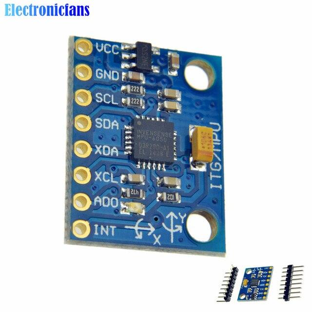 1 Unidades IIC I2C MPU6050 GY-521 MPU-6050 3 Ejes Giroscopio Analógica Sensores + 3 Módulo Acelerómetro Axis Para Arduino Con 4pins 3-5 V DC