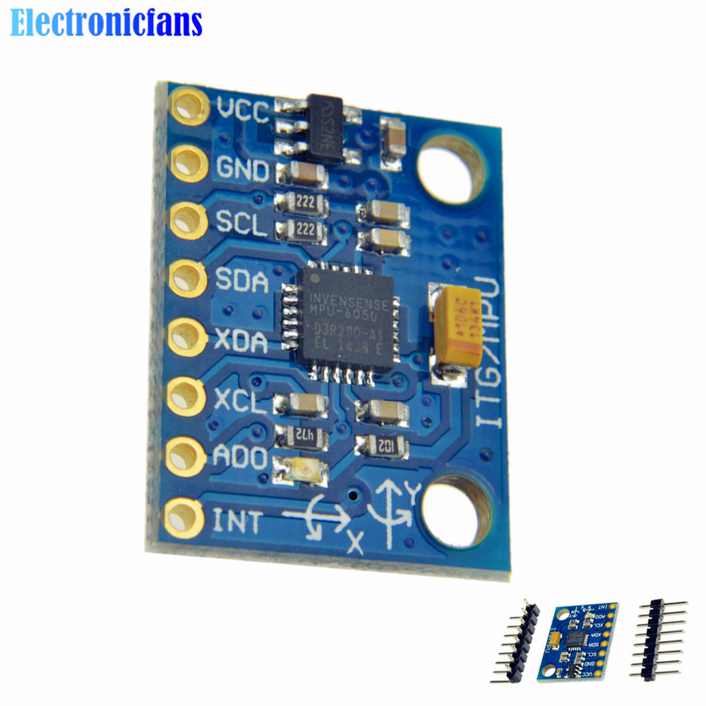 1Set IIC I2C GY-521 MPU-6050 MPU6050 3 Axis Analog Gyroscope Sensors + 3 Axis Accelerometer Module For Arduino With Pins 3-5V DC mpu6050 serial 6 axis accelerometer gyroscope module
