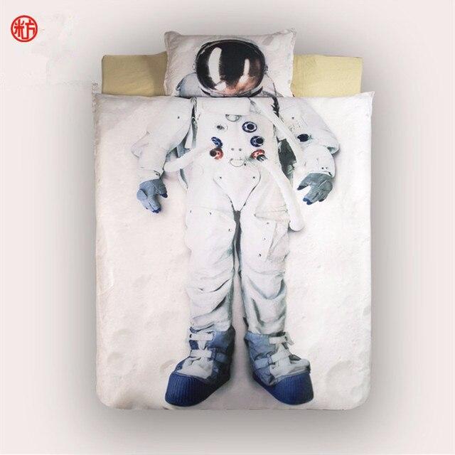 Домашний текстиль Летом 3D астронавт постельных принадлежностей пододеяльник простыня одного современные постельные принадлежности дети дети день рождения новый год подарок