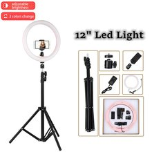"Tycipy 12"" LED Ring Light Photography Dimmable Video 2700K-5500K 24W Photo Studio Light for Smartphone with Tripod Phone Holder(China)"