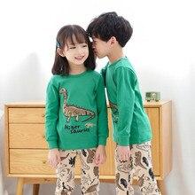 Kids Boys Long Johns Cartoon Dinosaur Pajamas Suits Autumn Cotton Striped Sleeve Sleepwear for Child Girls Toddler Pyjamas