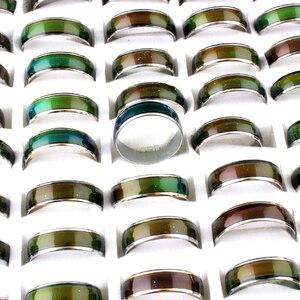 Image 3 - الجملة الكثير! 100 قطعة خواتم المزاج! خاتم بفص يتغير لون خواتم الفولاذ المقاوم للصدأ مزيج حجم 6 7 8 9