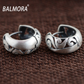 BALMORA Vintage Style 100% Real 990 Pure Silver Jewelry Hollow Hoop Earrings for Women Lover Party Gifts Jewelry Aretes SY31287