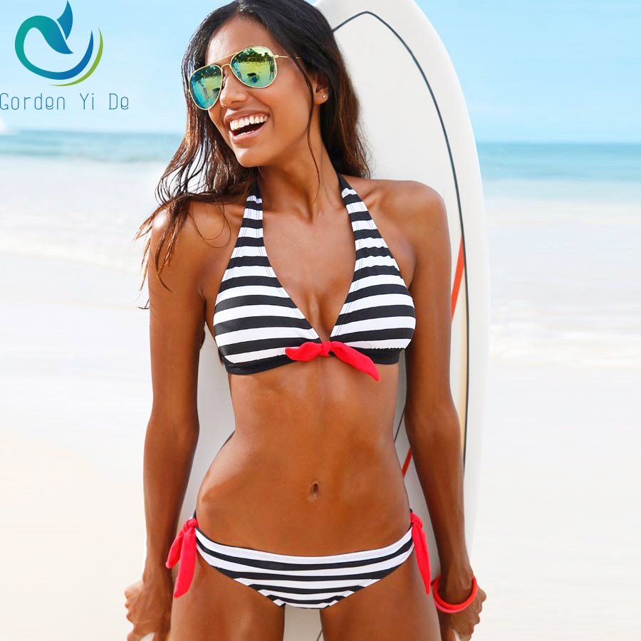 2018 Sexy Bikinis Women Swimsuit Swimwear Halter Top Plaid Brazillian Bikini Set Bathing Suit Summer Beach Wear Biquini cupshe heated love in desert cross back bikini set women summer sexy swimsuit ladies beach bathing suit swimwear