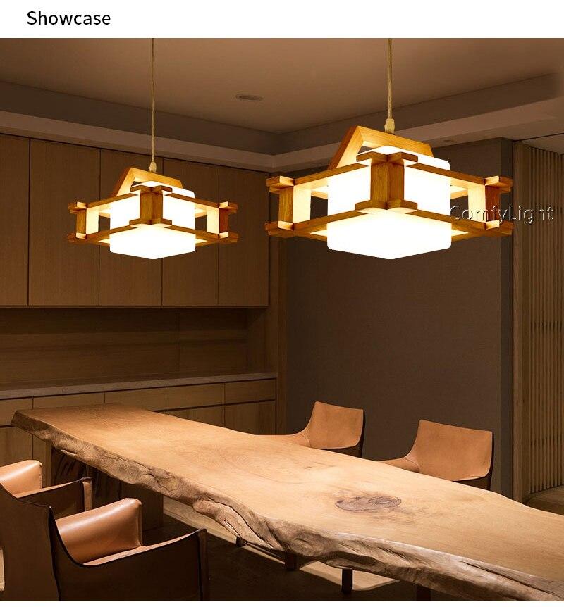 Modern Japan Style Living Room Bedroom Villa Restaurant Nordic Clothing  Decoration Wood Lamshade LED Pendant Lamp Vintage Light Fixtures Hanging ...