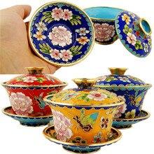 Винтажная китайская перегородчатая декоративная чаша с крышкой-чашка чайные украшения ручной работы фетальная медная филигрань эмаль домашний декор ремесла подарок