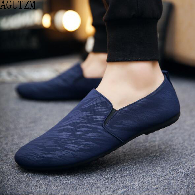 mens casual loafers shoes breathable light fabric fashion spring autumn leopard black gray blue flat cheap male shoes q120