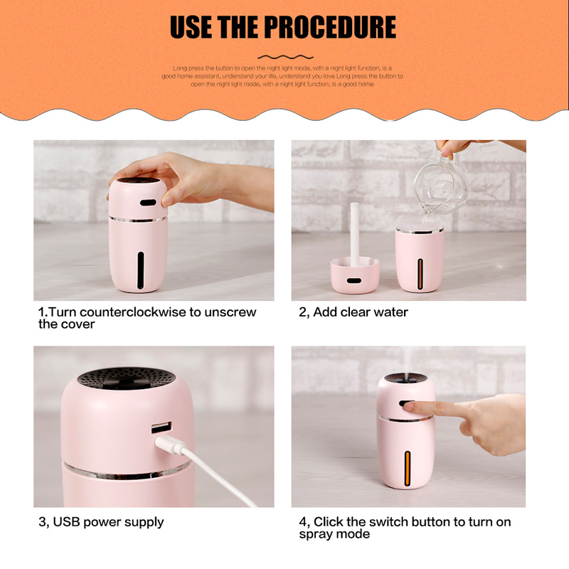 White Dolphin Mini Air Humidifier USB For Office LED Air Vaporizer Mist Maker Electric Aroma Diffuser Essential Oil Humidifier