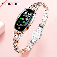 SANDA Luxury Smart Watch Women Bluetooth Heart Rate Monitor Blood Pressure Fitness Tracker Ladies Smartwatch For IOS Android H8