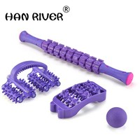 HANRIVER Portable fascia muscle relaxation massage stick gear ball roller yoga massage roller stretch