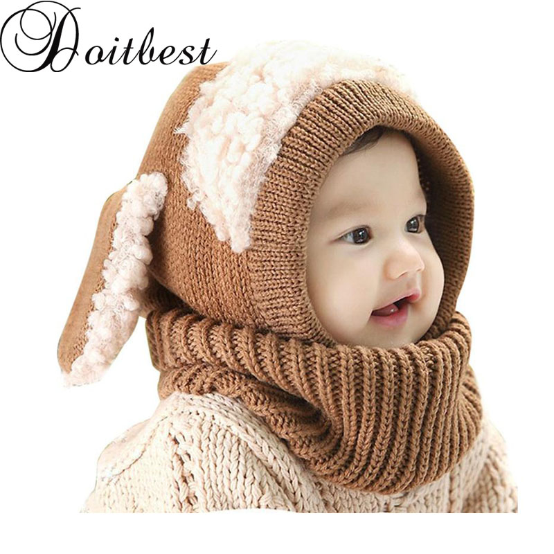 Doitbest Korean Dog Style Boys Knitted Hats Winter Fur Baby Girls Conjoined Cap Can As Shawl Age For 6 Months-4 Years Old