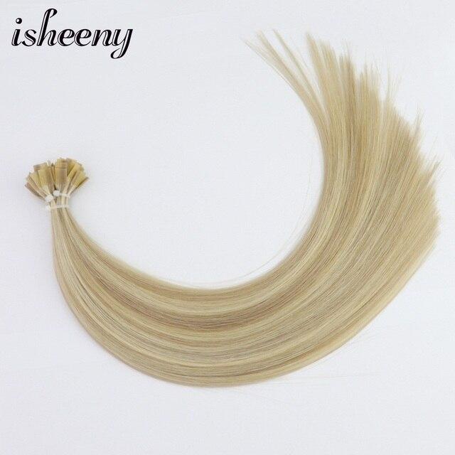 "Isheeny Fusion Flat Tip Human Hair Extensions 14"" Velvet Remy Keratin Capsule 100pcs Straight European Hair"