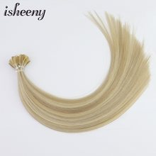 "Isheeny Fusion Flat Tip Human Hair Extensions 14"" Velvet Remy Keratin Capsule 100pcs Straight European Hair(China)"