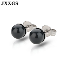 JXXGS Brass Jewelry Women Earrings Pearl 2019 Black/White/Pink/Tahitian For