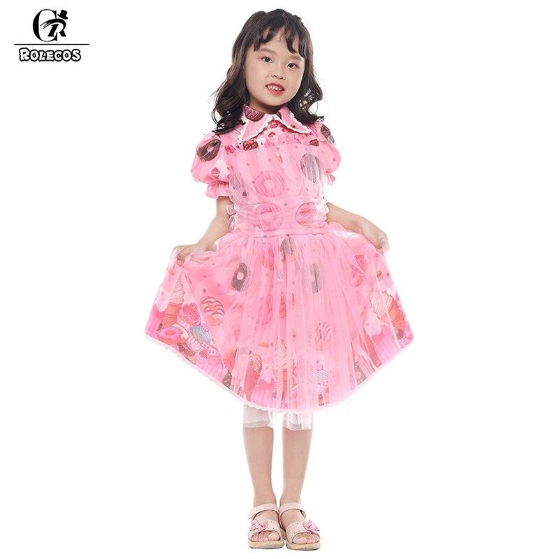 ROLECOS 2018 New Arrival Kids Lolita Dress Doughnuts Print Chiffon Pink Dress Sleeveless Sweet Lolita Dress for Kids