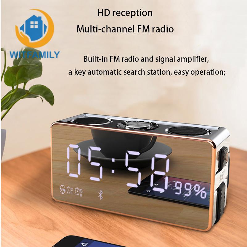 Lustro Subwoofer odtwarzacz muzyczny budzik z radiem FM bezprzewodowy Bluetooth cyfrowy HD dźwięk telefonu pulpit zegarek LED Stereo w Budziki od Dom i ogród na  Grupa 1