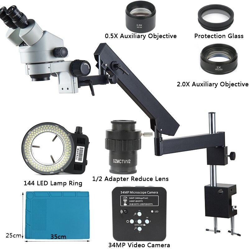 Caméra vidéo 34MP simul-focal 3.5X-90X Microscope stéréo trinoculaire bras articulé pince Microscope 0.5X 2.0X objectif