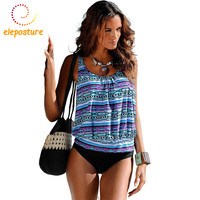 Swimwear Women Swimsuit 2017 Tankini Swimsuits Plus Size Swimwear Tankini Set Vintage Print High Waist Bathing