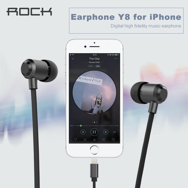 Rock de alta fidelidad auricular estéreo para iphone 7 6 s 6 5S, imf certificada y8 bass auriculares para iphone/ipod/ipad con micrófono
