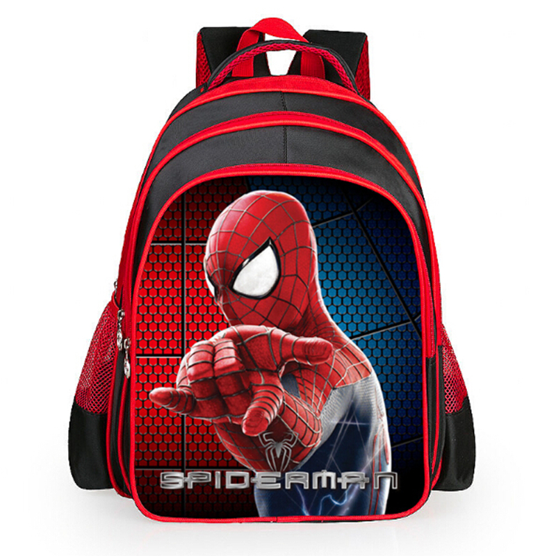 Spiderman cartoon bags of pupils grades 1-6 shoulders the burden of the children kids sc ...