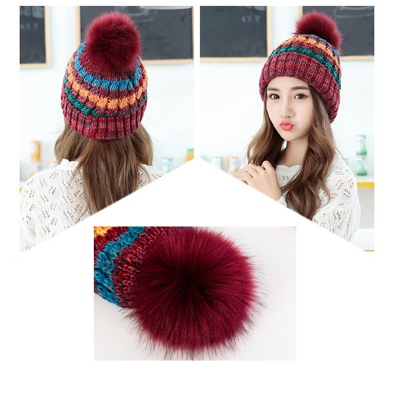 1pcs Fashion Winter Hats for Women Pompon Hat Mix Color Knitted Hat Female   Skullies     Beanies   for Ladies Hat Female Warm Caps
