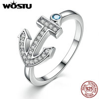Aliexpress Hot Sale 100 Real 925 Sterling Silver Sparkling Anchor Rings With Clear CZ Luxury Jewelry