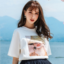 AcFirst Summer Fashion Women Tops Casual White T-shirts Shirt O-Neck Short Plus Size T Cotton Sexy Tees Print