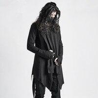 Необработанный край дизайн один слой тонкое пальто тонкий прилив мужской осень Личность Готический Темный плащ халаты