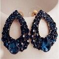2015 Натуральный камень мода черный Синий большой серьги Brincos золотые серьги Для девушки летом стиль pendientes