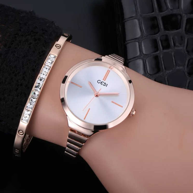 GEDI  Slim Band Rose Gold Stainless Steel Watches Women Top Brand Luxury Casual Clock Ladies Wrist Watch Lady Relogio Feminino