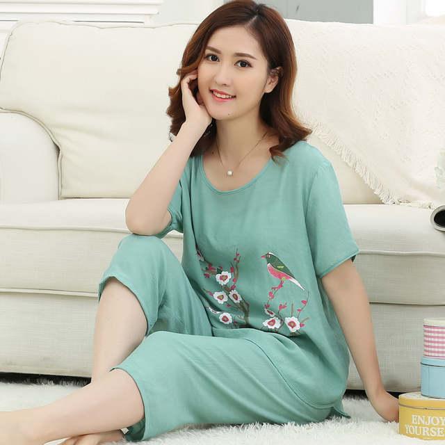 Summer New Design Lady Pajamas Set Sleepwear Women Cotton Linen Pyjamas  Causal Loose Nightwear Chinese Vintage 3e967d8835