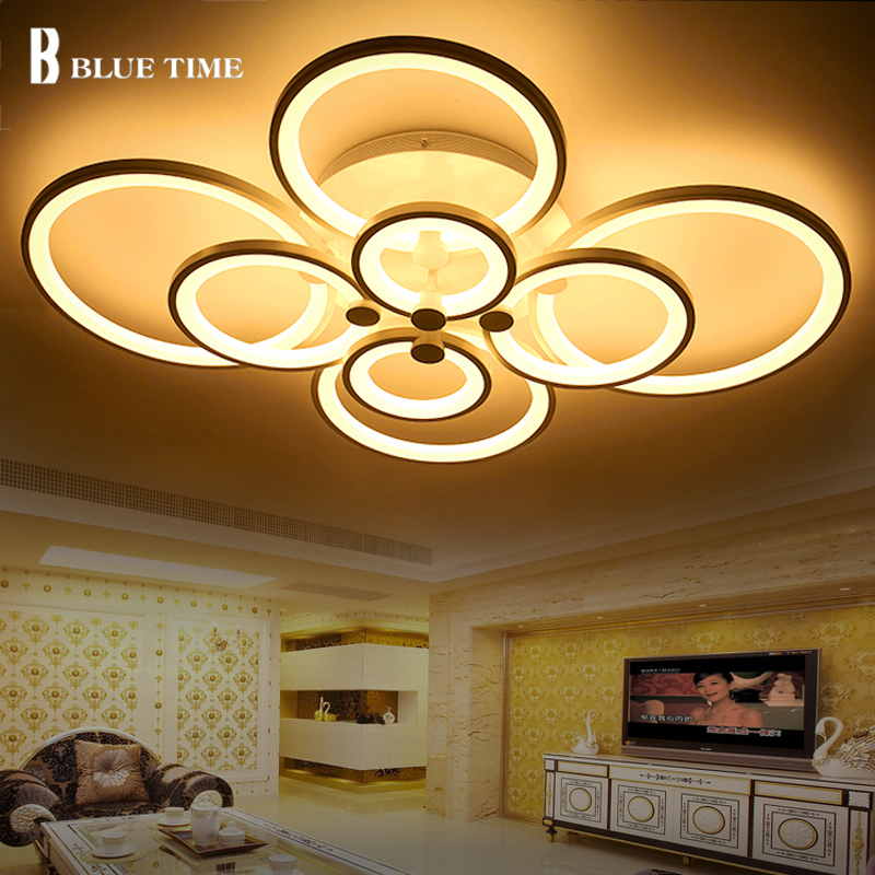 White Rings Modern LED Chandelier For Bedroom Kitchen Dining room Study room Lustres Led Chandelier Lighting Lamparas de techo noosion modern led ceiling lamp for bedroom room black and white color with crystal plafon techo iluminacion lustre de plafond