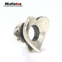 Mistletoe Jewelry 925 Sterling Silver Budding Love Heart Spacer Charm Bead Only Fits European Troll 3.0mm Bracelet Jewelry(China)