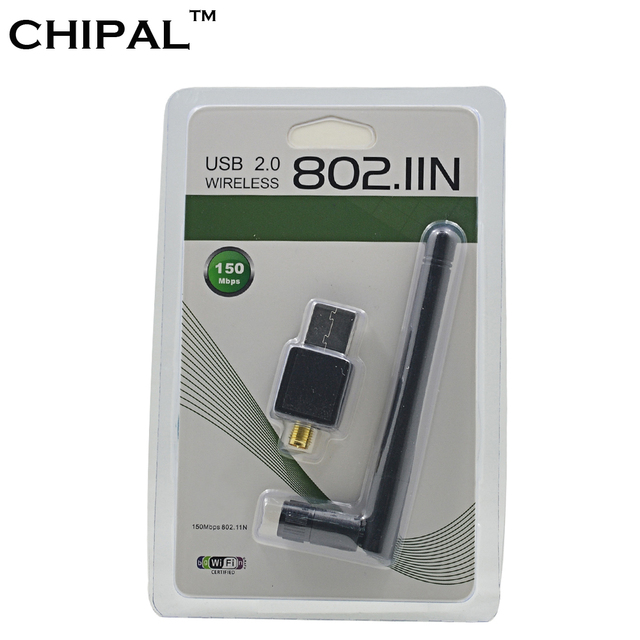 CHIPAL 150M External USB WiFi Adapter Antenna Dongle Mini Wireless LAN Network Card 802.11n/g/b for Windows XP Vista Win7 Win8
