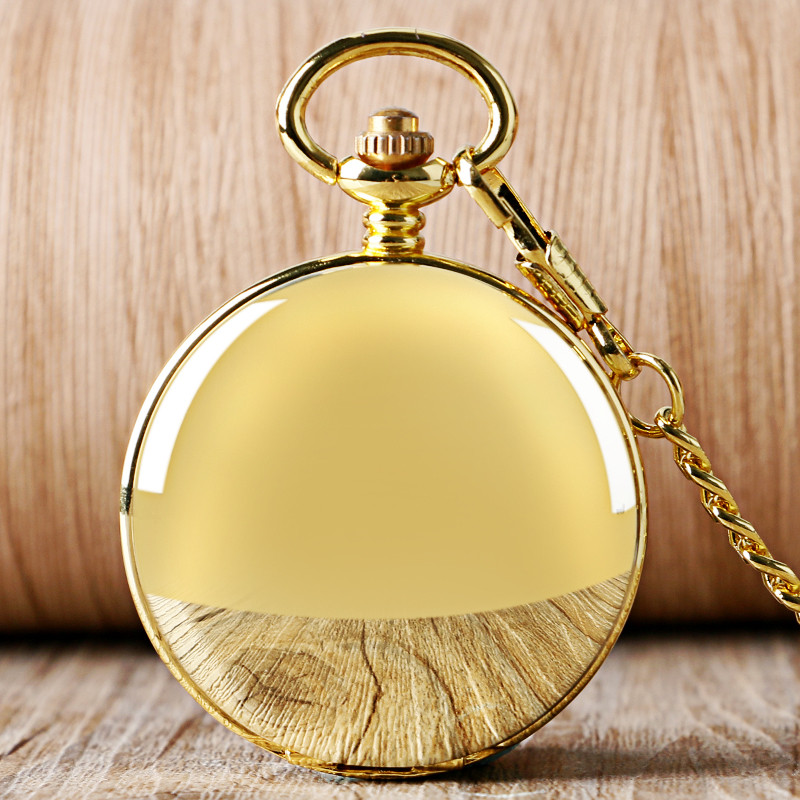 YISUYA Fashion Golden Smooth Double Hunter Case Roman Number Skeleton Steampunk Hand-wind Mechanical Pocket Watch For Men Women