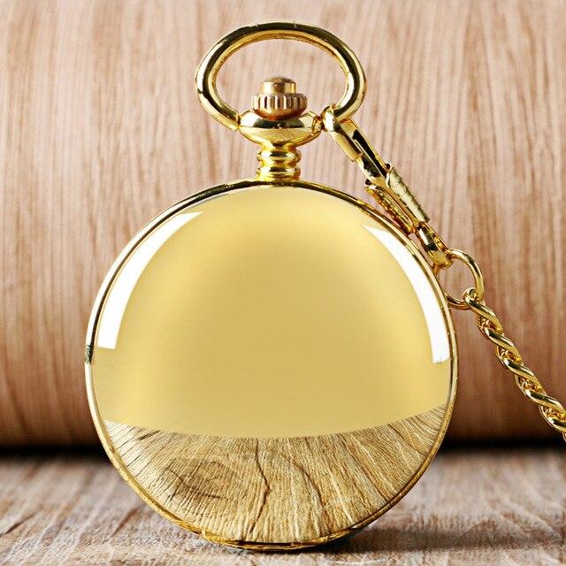 YISUYA Fashion Golden Smooth Double Hunter Case Roman Number Skeleton Steampunk Hand wind Mechanical Pocket Watch for Men Women