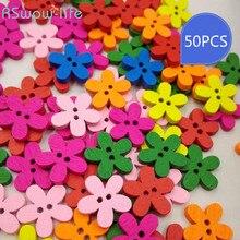 50pcs/a pack DIY Flowers Wooden Buttons Childrens Cartoon Cute Decorative Seven-color Flower Wood