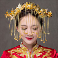 Vintage Chinese Traditional Wedding Hair Jewelry Accessories Sets Gold Plated Queen Hairpins Pageant Phoneix Coronet Hair