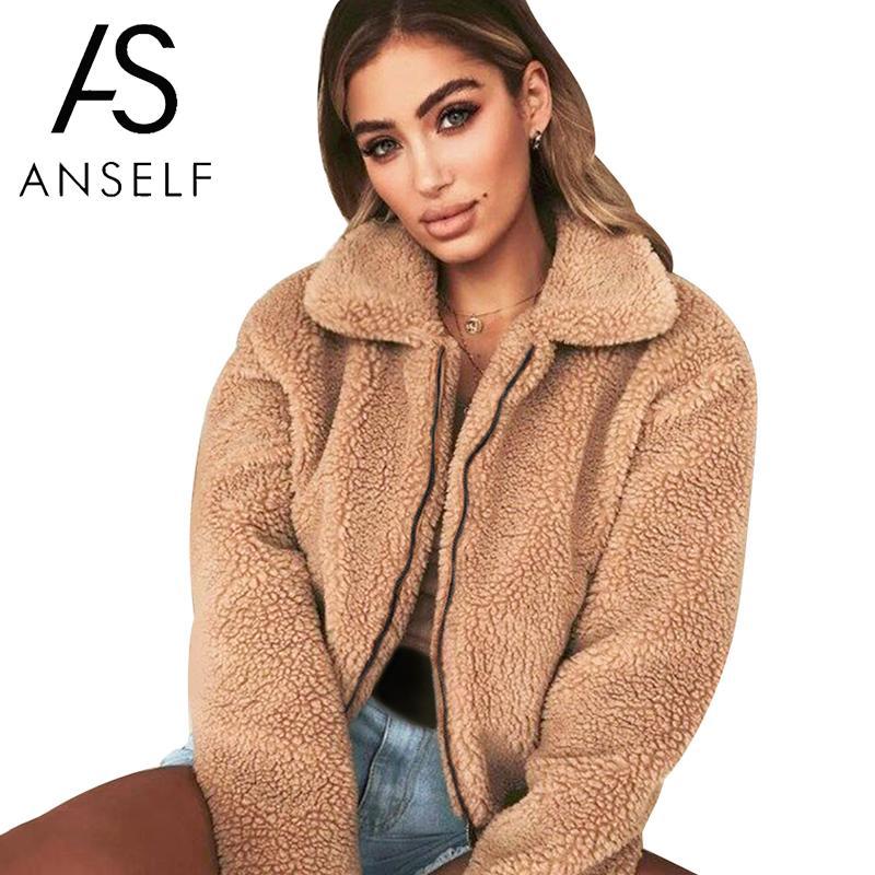 Anself Teddy Bear Coat Women Faux Fur Coat Female 2019 Autumn Elegant Loose Thin Outwear Zipper Overcoat Teddy Jacket Female 3XL