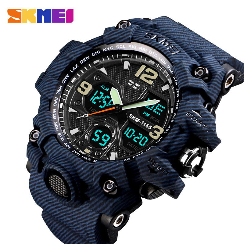 SKMEI Outdoor Sport Watch Men 5Bar Waterproof Military Camouflage Watches Dual Display Wristwatches relogio masculino Clock Male