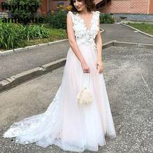 A Line Cheap Wedding Dresses Beach 2018 Robe De Soiree Vintage Lace 3d Flowers Top Sexy Women Boho Tulle Long Bridal Dress(China)