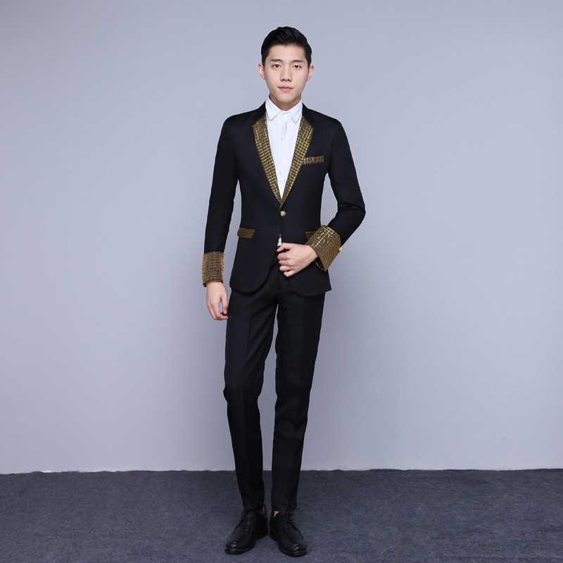 フォーマルパーティーメンズブランドスーツのスリムスーツ黒、白ブレザーの結婚式新郎ステージ衣装ウエディングバーの男性歌手コーラスホストのパフォーマンススーツ