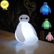 HOT!!New Color Changing High Quality 16cm Big Hero Baymax USB LED Night Creative Light for Table Desk Lamp & For Children's Gift