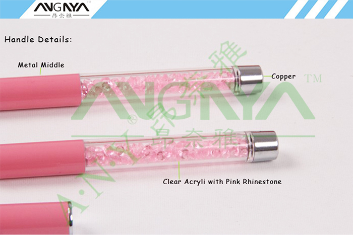 ALI shop ...  ... 32840777285 ... 3 ... ANGNYA 1PCS Kolinsky Sable Acrylic Nail Art Brush 2#4#6#8#10# Pink Rhinestone Decorated Metal Hand Nail Brush DIY Nail Drawing ...