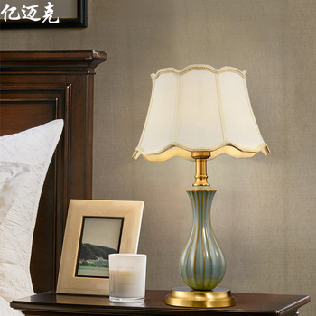 2020 Table Lamp American All-copper Ceramic Bedside Lamp Decorative Ceramic Lamp